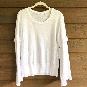 Wilt Belled Ruffled Long Sleeve White Cotton Top